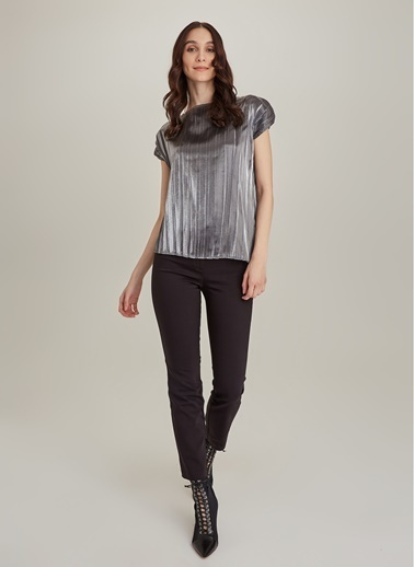 Monamoda Metalik Kumaşlı Piliseli Bluz Antrasit